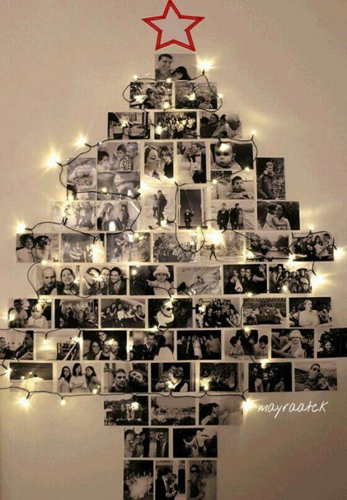 árbol de navidad hecho de fotos