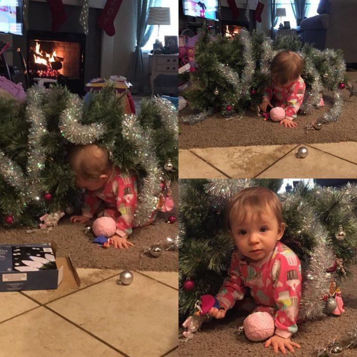 nña tumbó un árbol d enavidad