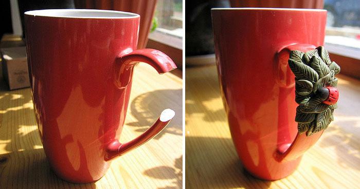 taza rota arreglada con porcelana fría