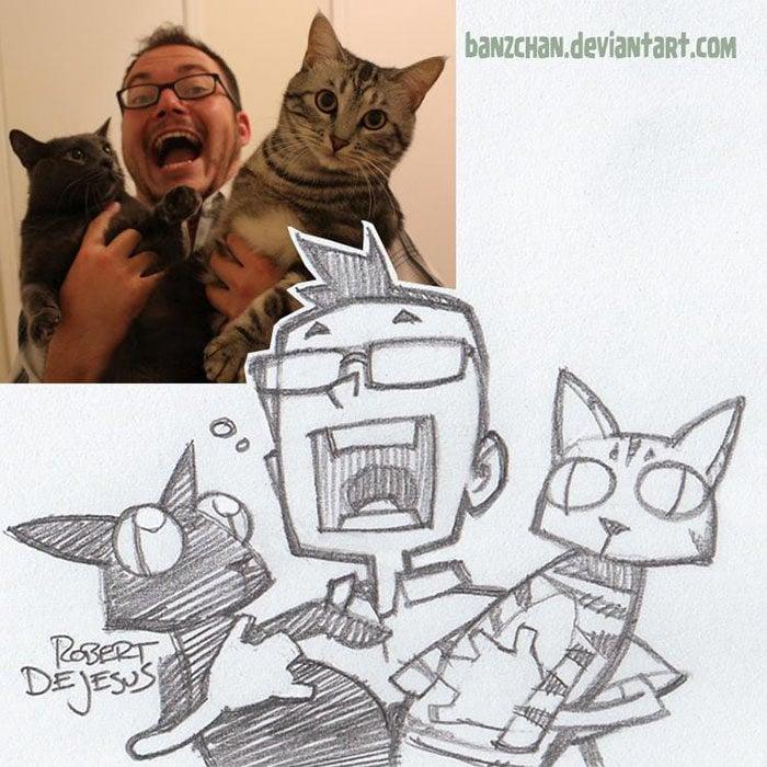 chico y sus dos gatos convertidos en anime
