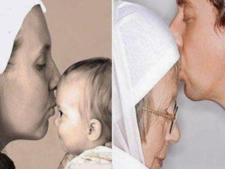 mujer besando a su bebé, al lado el bebé crecio y besa a su madre