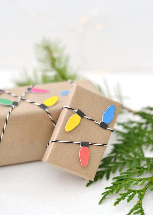 envoltura de regalo con serie luminosa de cartón