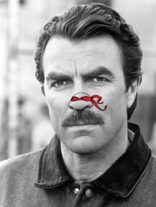 tom selleck con nariz de tortuga ninja