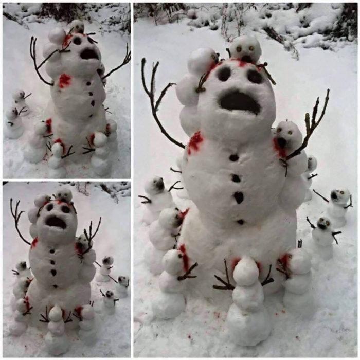 muñecos de nieve decorando a un muñeco de nieve de mayor tamaño