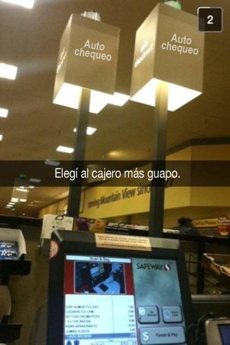 snapchat de cajas de supermercado