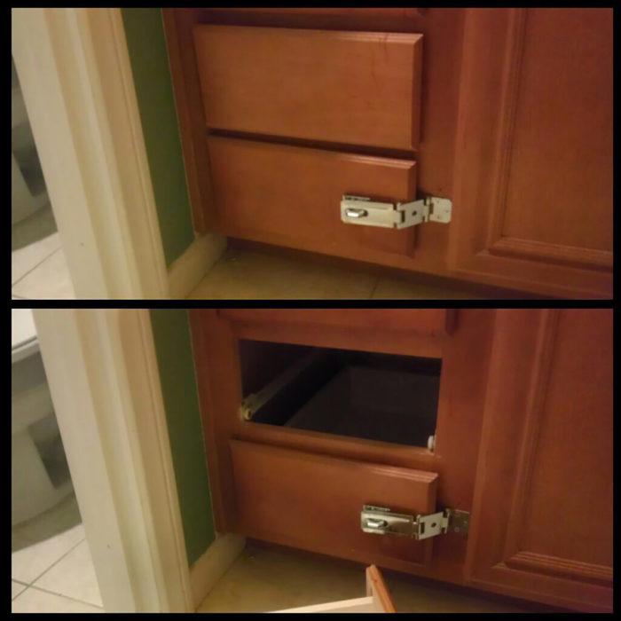 cajón con seguro, con el cajón de arriba vacío