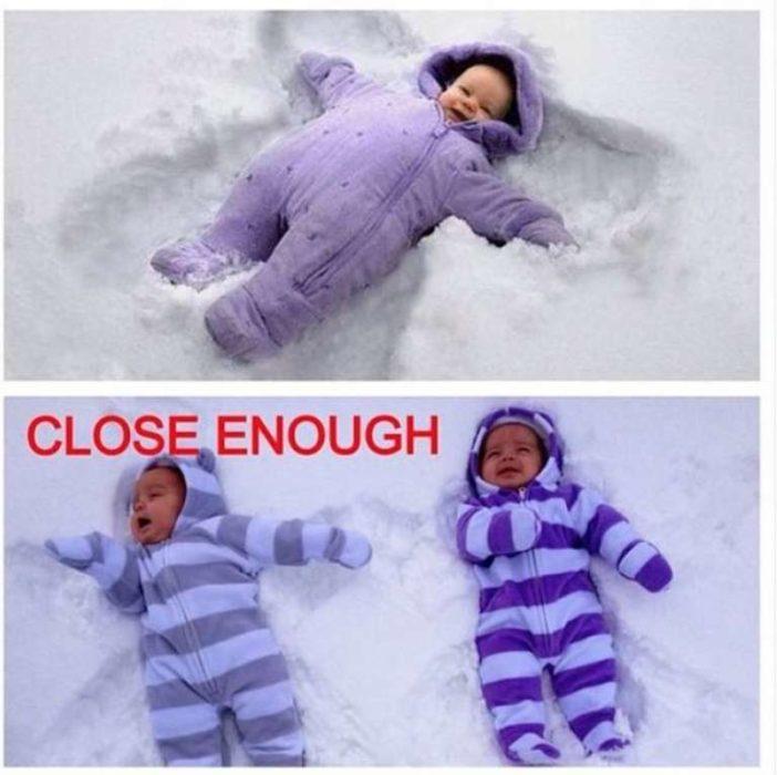 bebés tratando de hacer ángeles en la nieve
