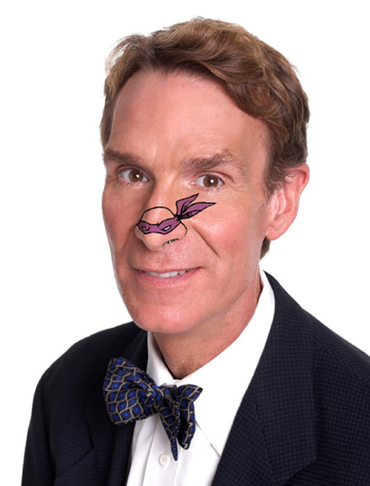 bill nye con una tortuga ninja dibujada en la nariz
