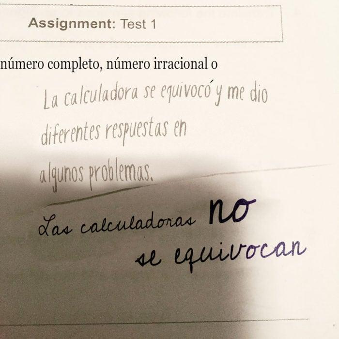 respuesta graciosa en examen de matemáticas