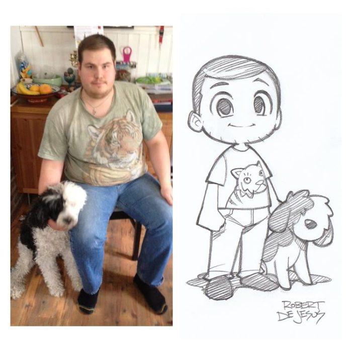 hombre con su perro blanco con negro son convertidos en anime