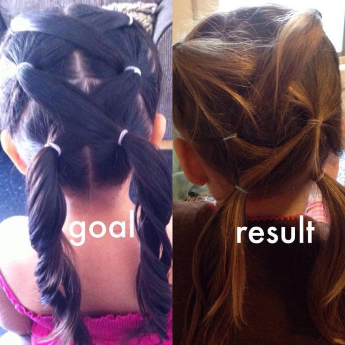 expectativa vs realidad en peinado de niña