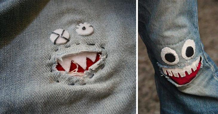 parche de cara en un pantalón