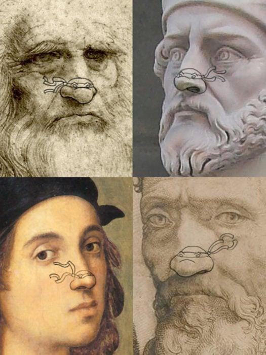 Leonardo, Raphael, Michelangelo, Donatello con tortugas dibujadas en su nariz