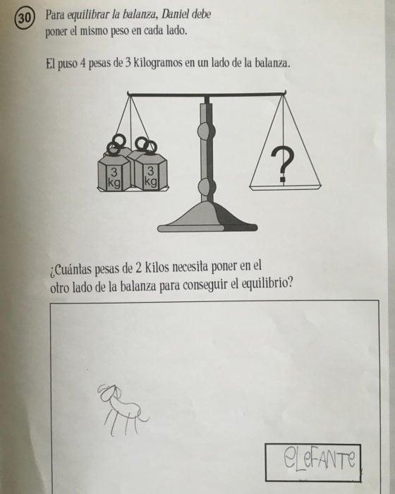 respuesta graciosa a pregunta de examen sobre equilibrar balanzas