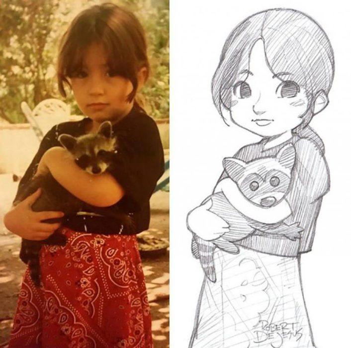 niña cargando un mapache son convertidos en anime