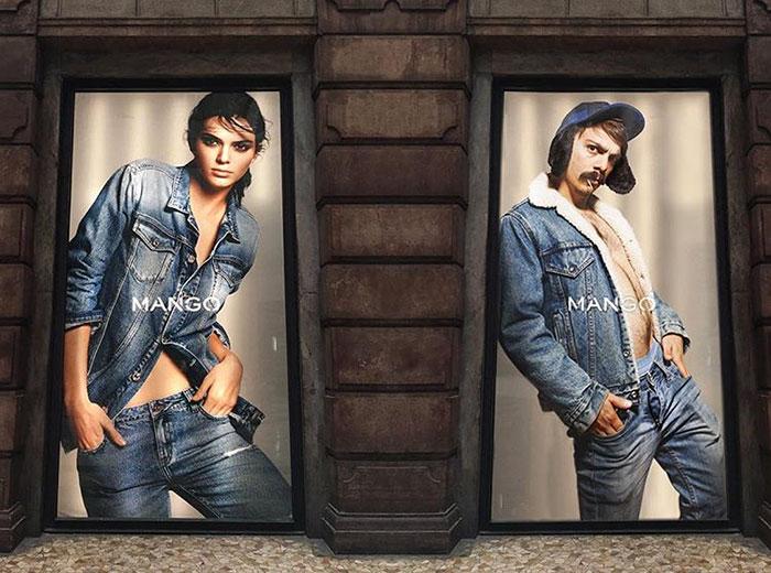 hombre se edita al lado de kendall jenner en un anuncio publicitario