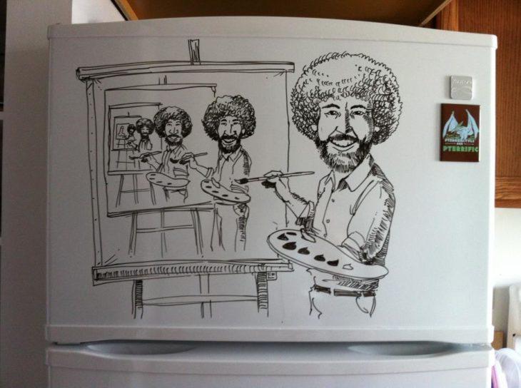 Dibujo hecho en menos de 25 minutos en un refrigerador