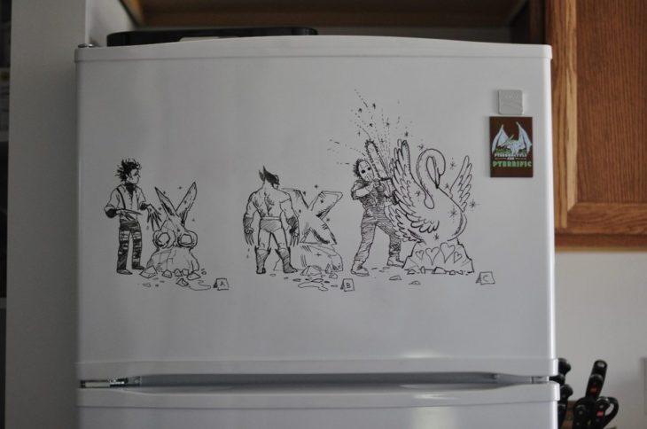 dibujo hecho en la puerta de la nevera