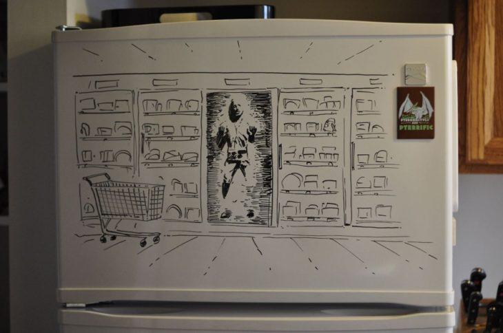 dibujo en el congelador