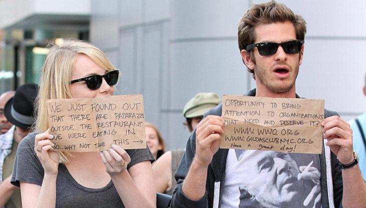 Andre Garfield y Emma Stone se esconden de los paparazzi