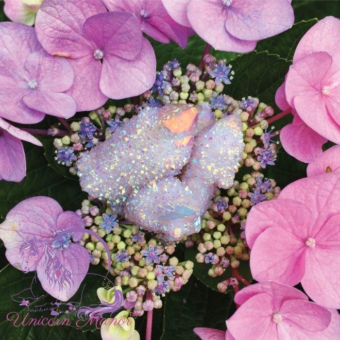 cuarzo rosa con flores