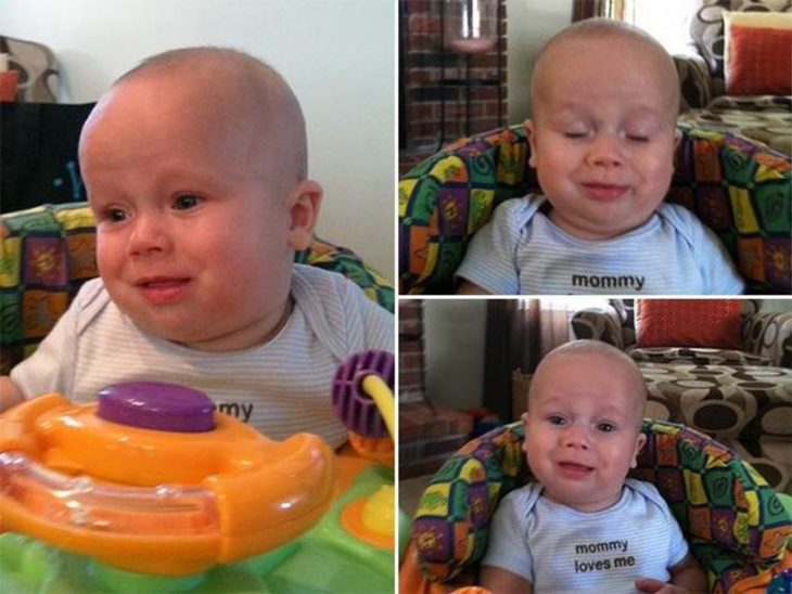expresiones de un bebé mientras hace popó