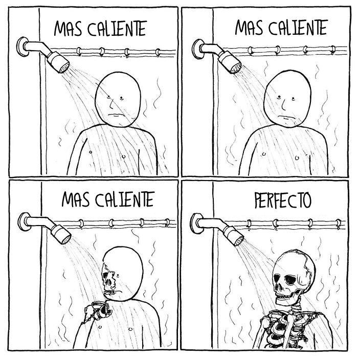 Cómic triste - bañarse con agua caliente
