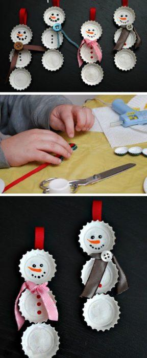 Manualidades navidad - monos de nieve con tapas de refresco