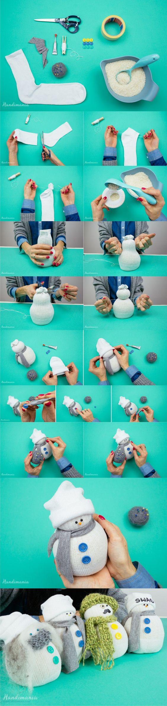 Manualidades navidad - monos de nieve calcetines
