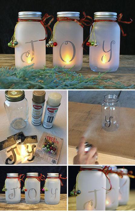 Manualidades navidad - jarros velas