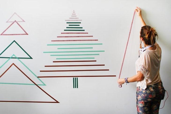 Arbol navideño con cintas