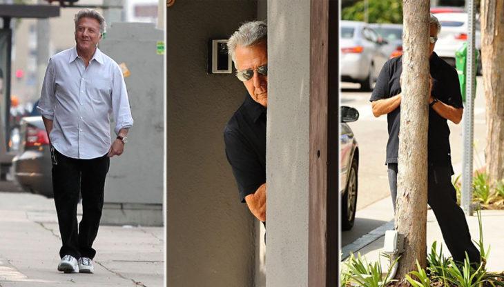 Dustin Hoffman se esconde tras un poste de paparazzi
