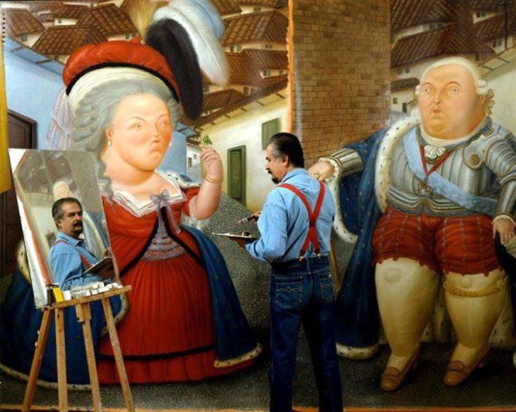 Fernando Botero pintando