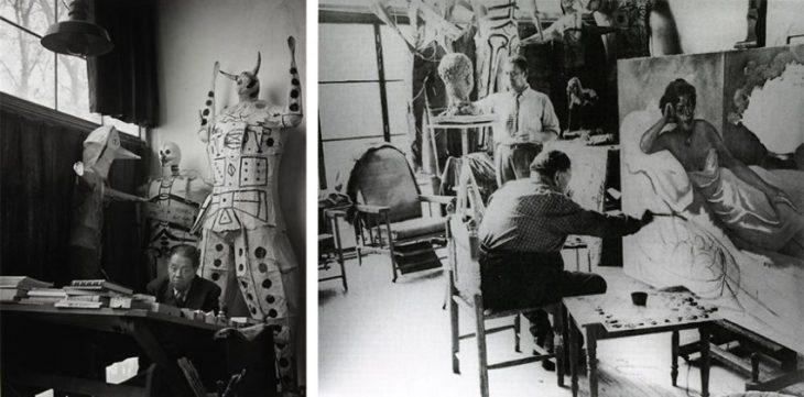 Diego Rivera en su estudio