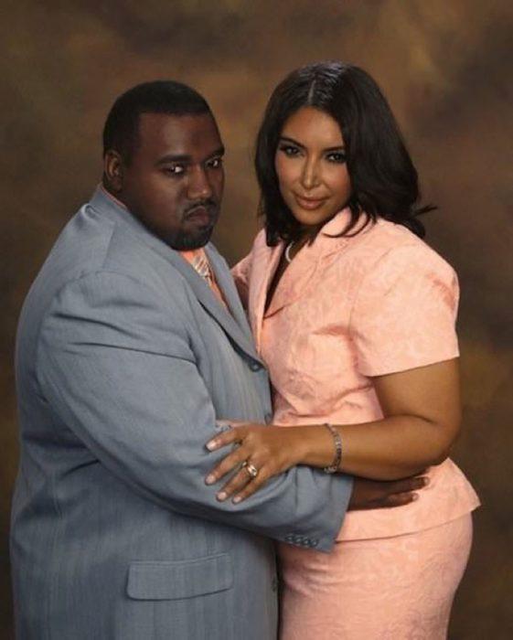Cómo lucirían los famosos si fueran personas normales - Kim y Kanye gordos
