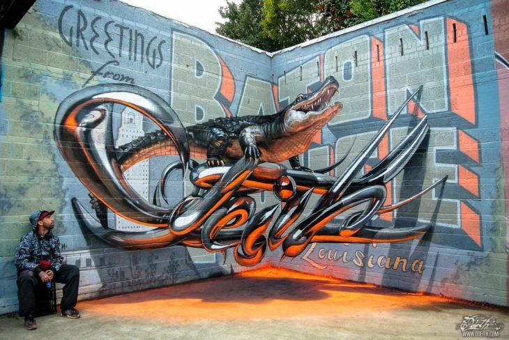 Un cocodrilo en graffiti 3D