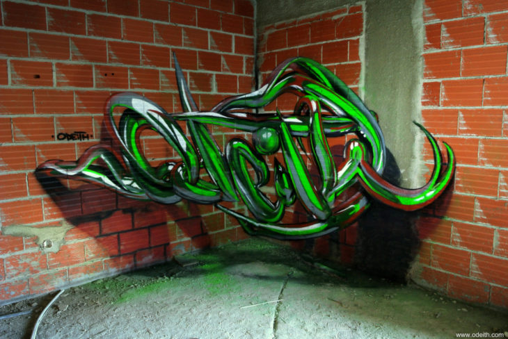 Graffiti color verde 3D