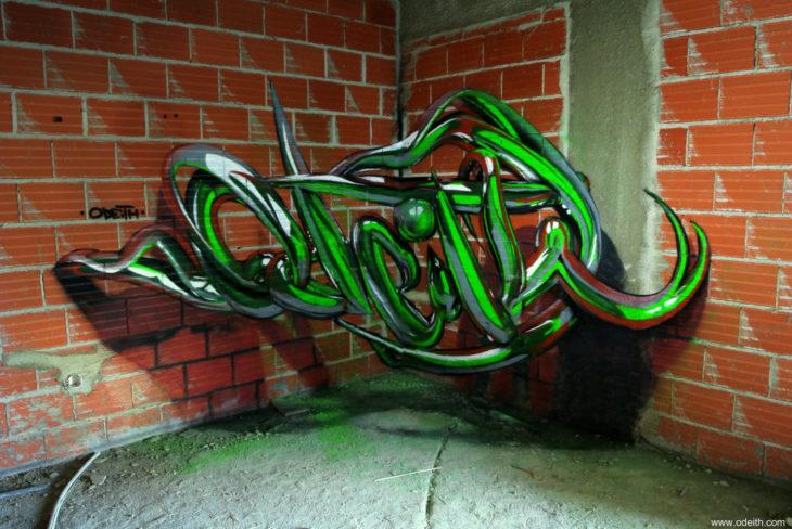 Graffiti color verde 3D