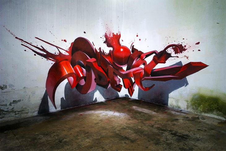 Genial graffiti hecho en 3D