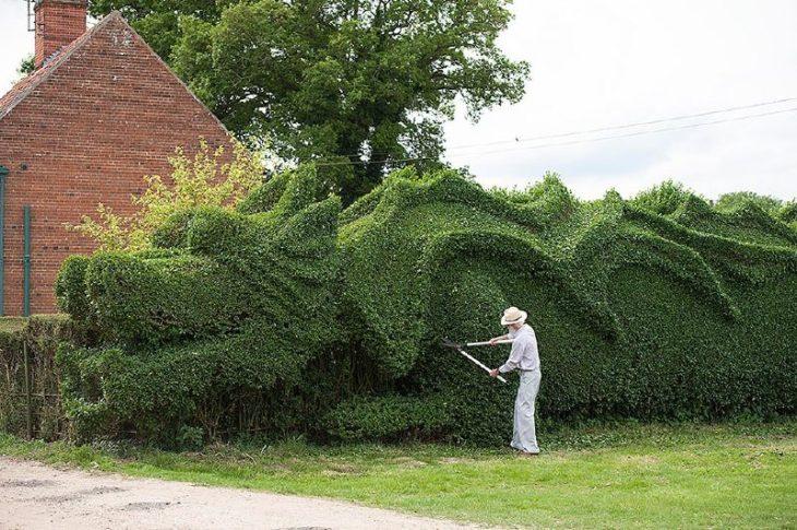 Un hombre cortando un seto en forma de dragón