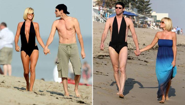 Jim Carrey y Jenny McCarthy en la playa