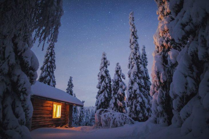 Casa en medio de un bosque nevado