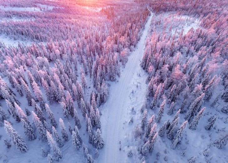 Atardecer en paisaje de nieve