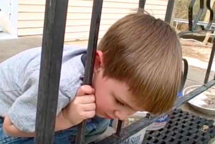 Niño con cabeza atorada en barandal