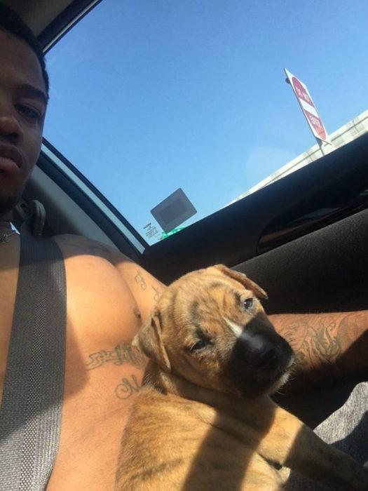 Selfie cachorrito y su dueño