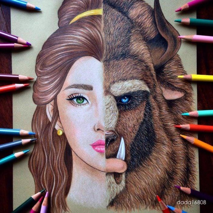 Rostros unidos - La Bella y la Bestia ella y él