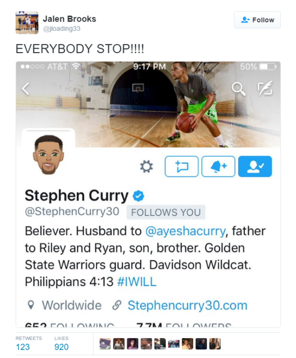 Stephen Curry sigue a Brooks