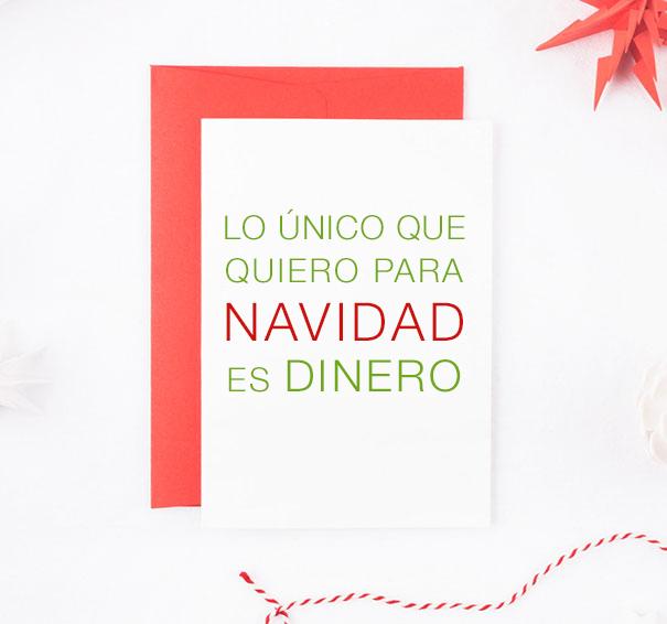 tarjetas lo unico que quiero esta navidad es dinero