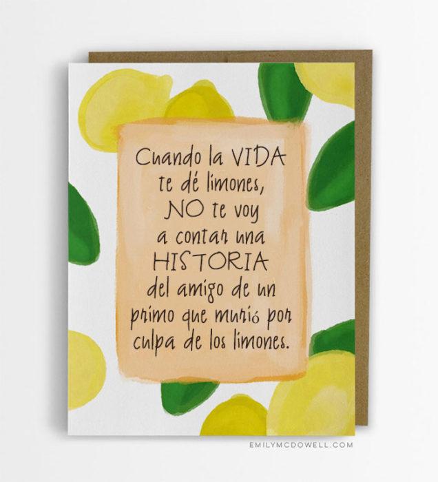 Tarjetas cáncer - Cuando la vida te dé limones...