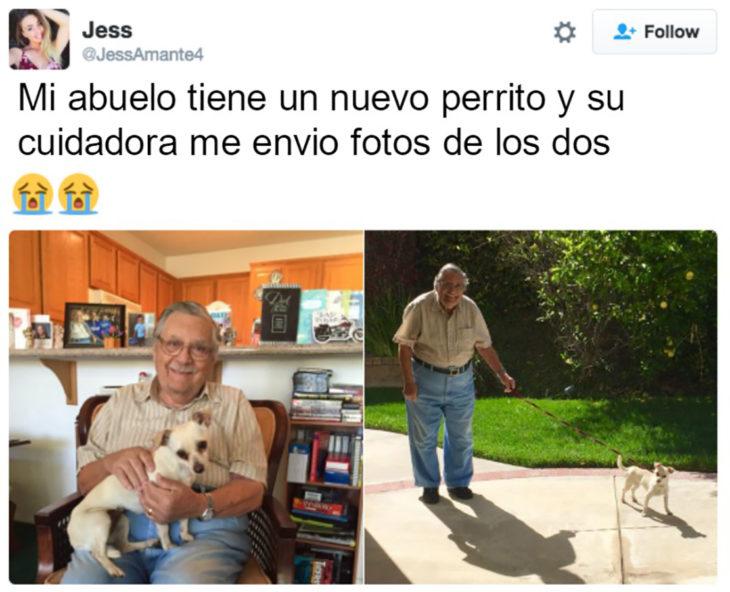anciano con un cachorro